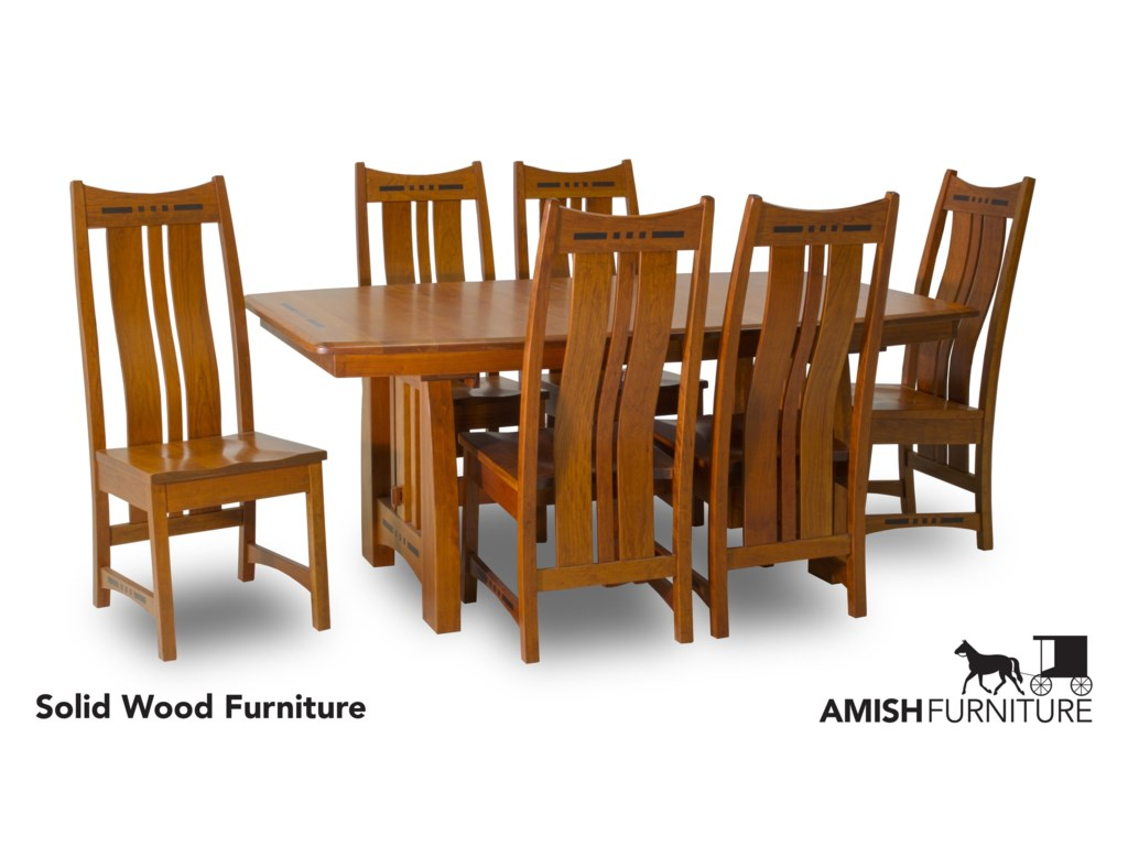 Amish Impressions by Fusion Designs Hayworth7 Piece Dining Set with Slat Back Chairs