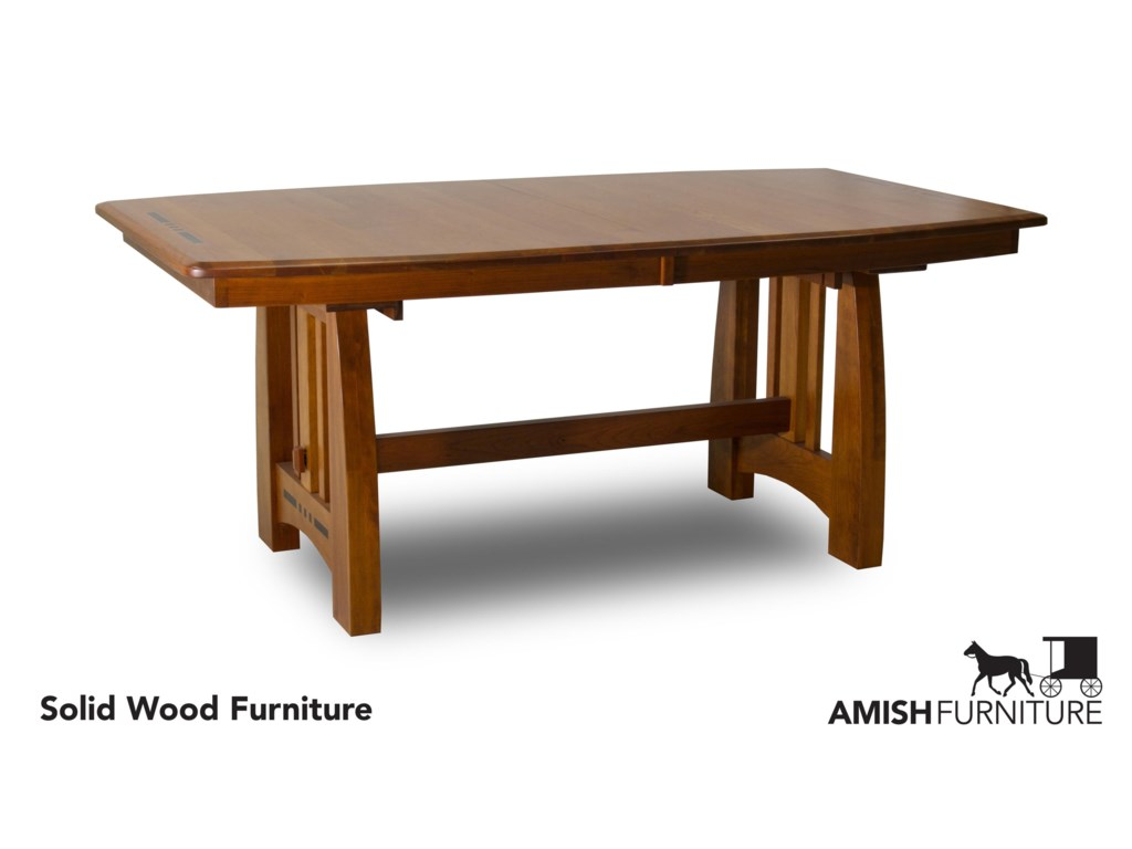 Amish Impressions by Fusion Designs HayworthTrestle Dining Table with Ebony Wood Inlays