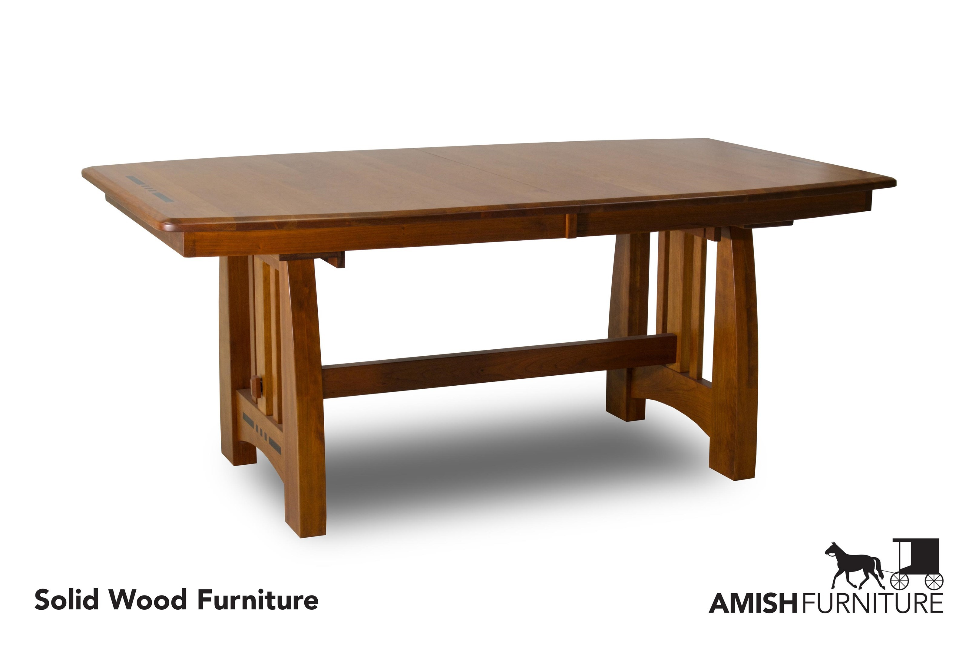 Amish Impressions By Fusion Designs Hayworth Trestle Dining Table With  Ebony Wood Inlays