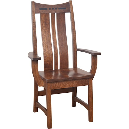 Indiana Amish Owen Arm Chair with Shaped Splat Back