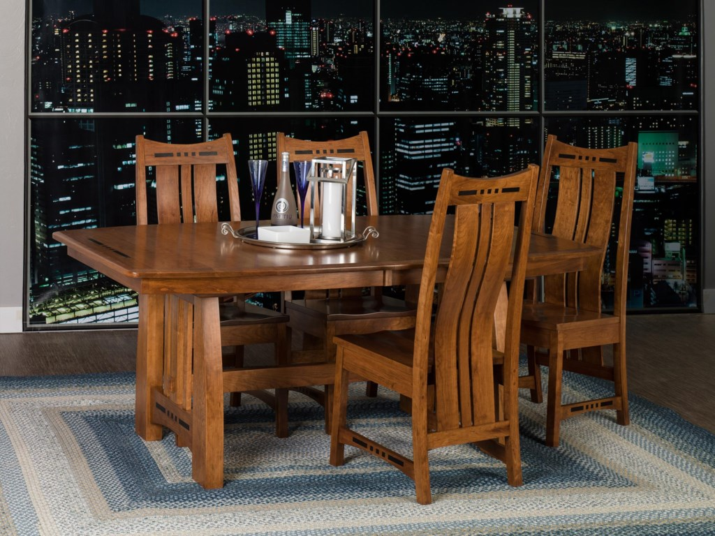 Dining chairs wood dining chair plans fusion design wood dining - Amish Impressions By Fusion Designs Hayworth Trestle Dining Table With Ebony Wood Inlays