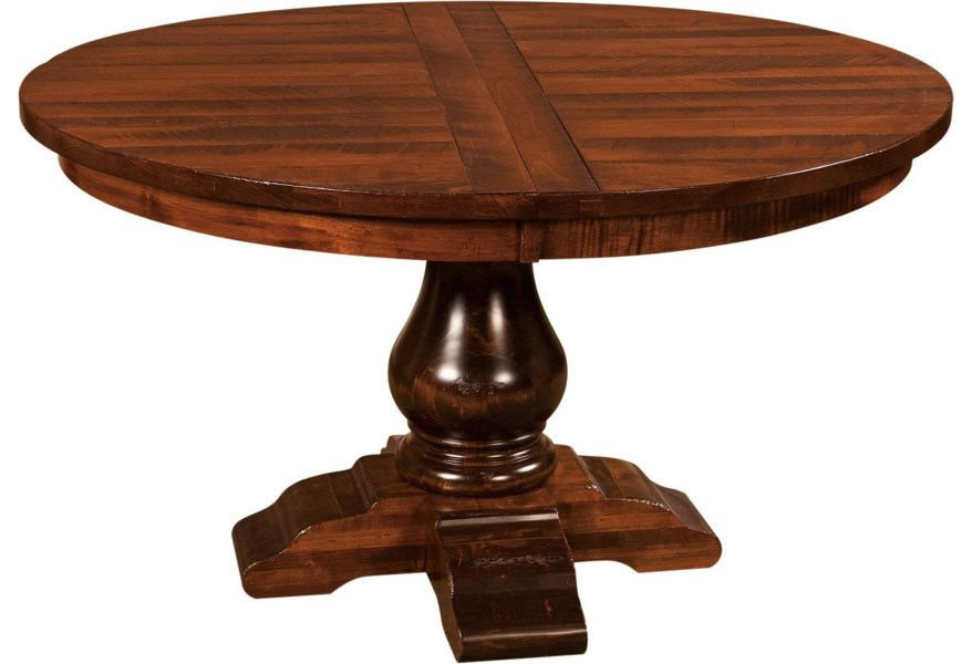 Indiana Amish Webster 60 Round Dining Pedestal Table Walker S Furniture Kitchen Table