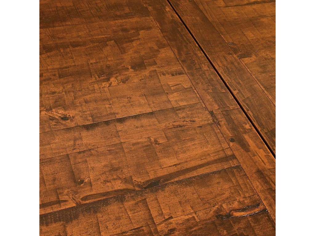 Table Shown May Not Represent Exact Size Indicated Plank Wood Top With Saw Marks Is Standard