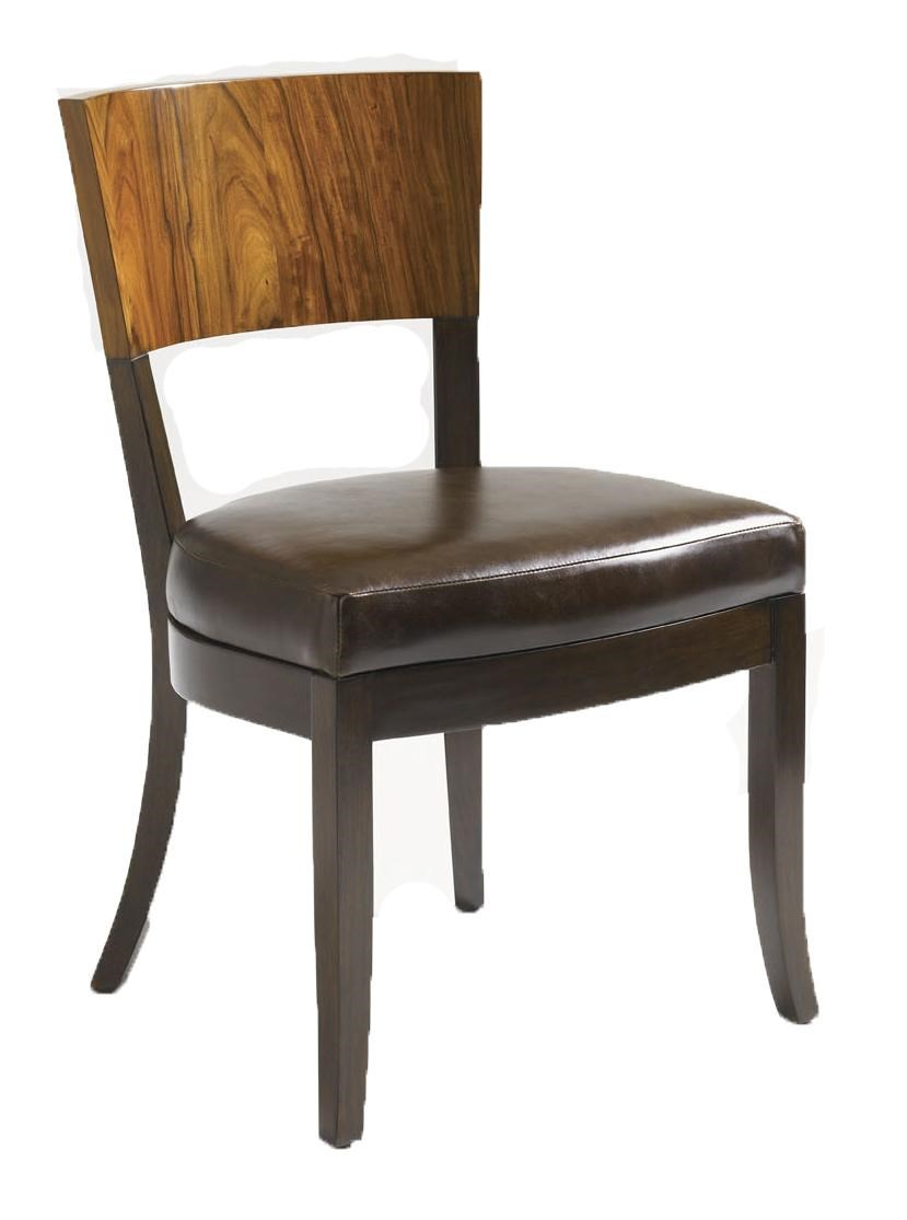 Allure Rosewood and Mahogany Side Chair with Brown Leather Seat
