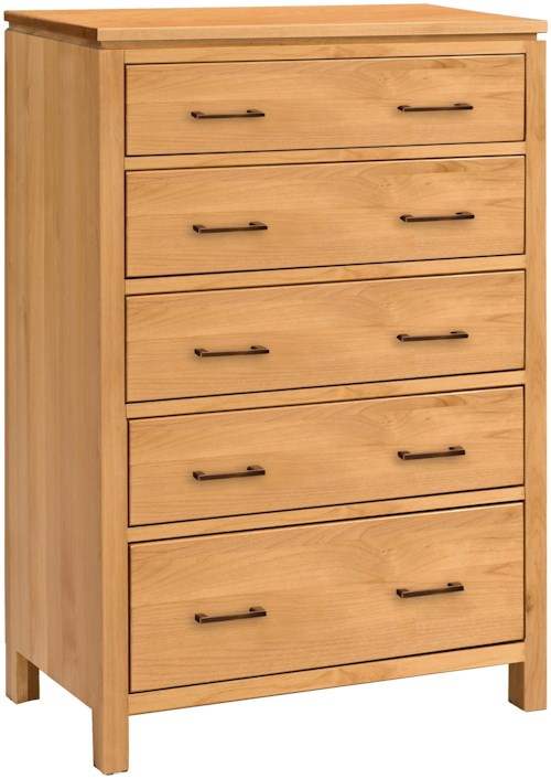 Archbold Furniture 2 West Wide 5 Drawer Chest with Blanket Drawer