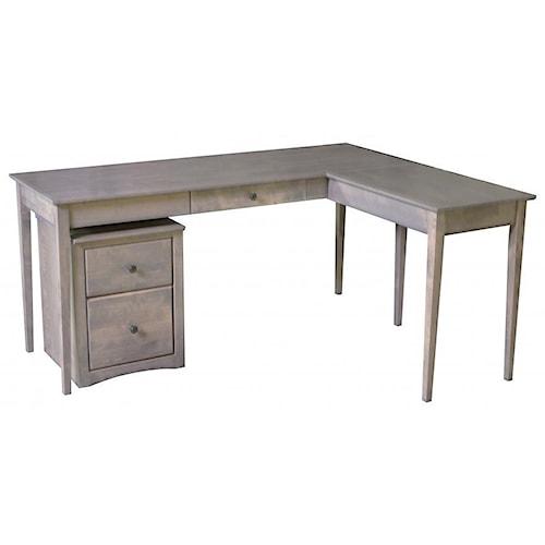 Archbold Furniture Alder Home Office Solid Wood 1 Drawer Writing Desk with Return