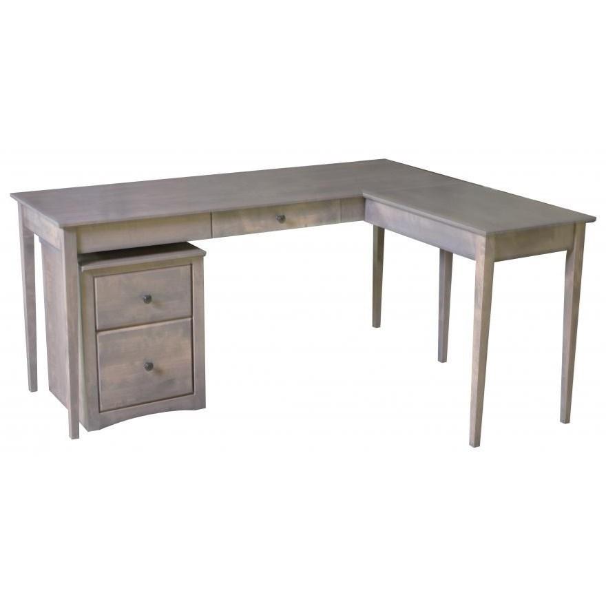 Archbold Furniture Alder Shaker Home Office Solid Wood 1 Drawer Writing Desk  With Return