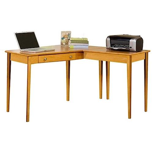 Archbold Furniture Alder Home Office L Shape Table Desk with Single Drawer