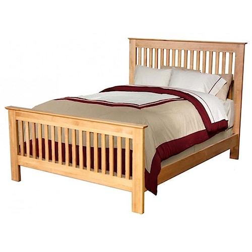 Archbold Furniture Alder Shaker Solid Wood King Slat Bed