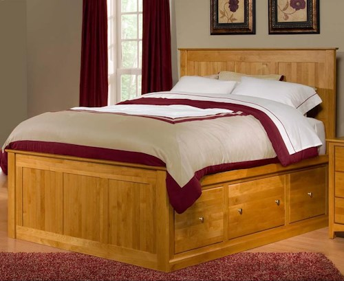 Archbold Furniture Alder Shaker Queen Flat Panel Chest Bed with 6 Drawers