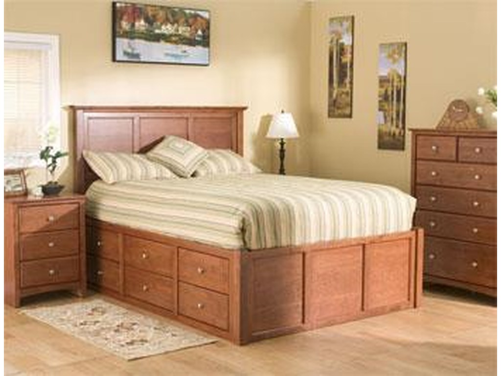 Archbold Furniture Alder ShakerQueen Flat Panel Chest Bed