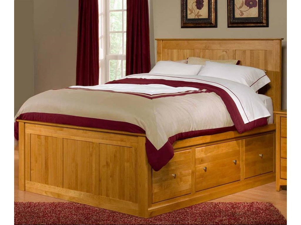 Archbold Furniture Alder ShakerKing Flat Panel Chest Bed with 6 Drawers