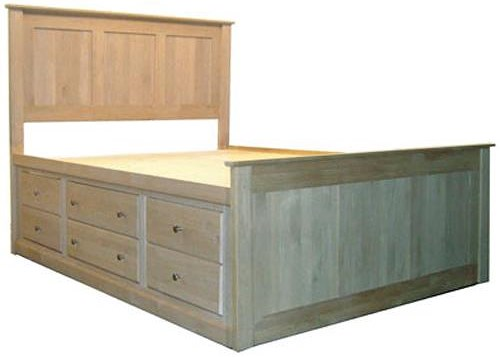 Archbold Furniture Alder Shaker King Flat Panel Chest Bed with 12 Drawers