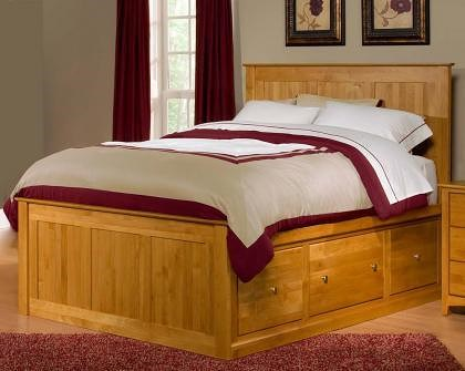 Archbold Furniture Alder Shaker King Flat Panel Chest Bed with 9 Drawers