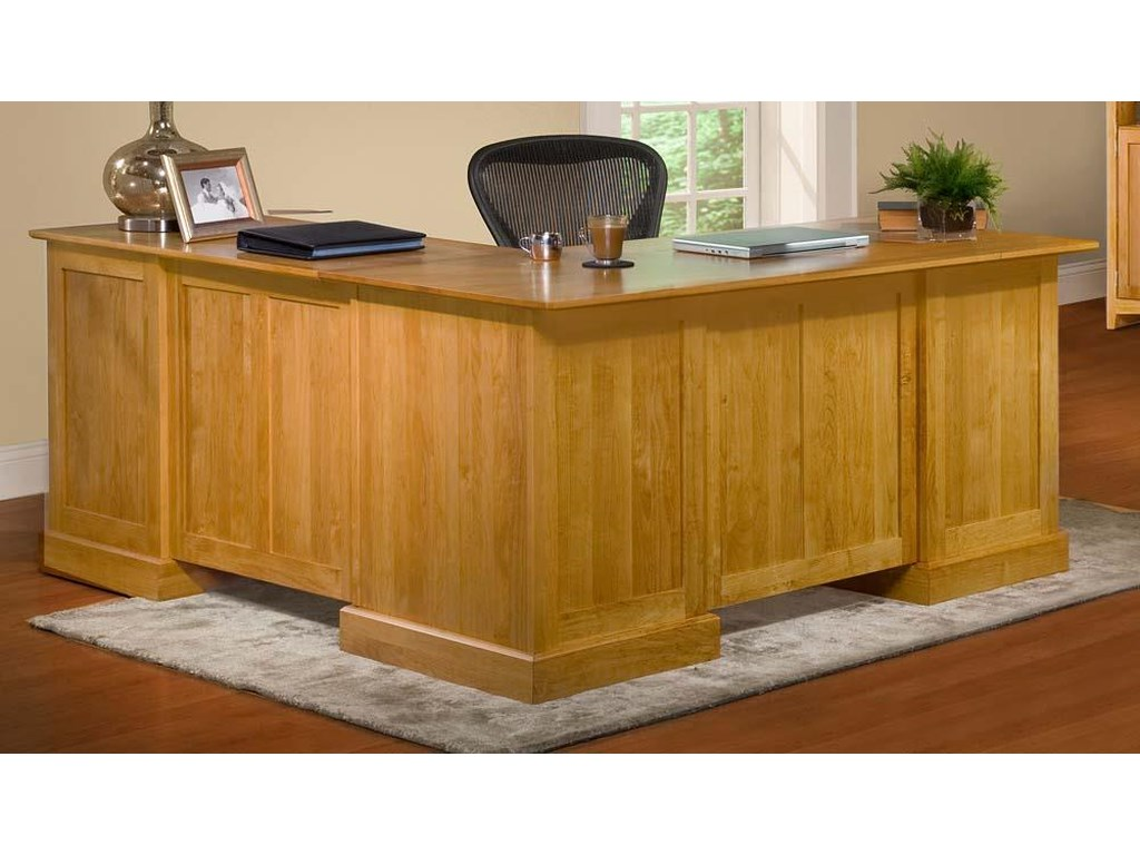Archbold Furniture Alder Shaker Home OfficeL Shape Desk and Return