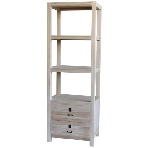 Archbold Furniture Allwood Accents Solid Wood Etagere with 2 Bottom Drawers - Archbold Furniture Allwood Accents Solid Wood Etagere With 2