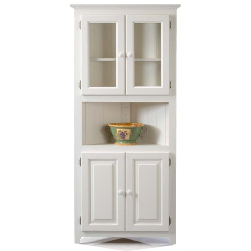 Archbold Furniture Pantries and Cabinets Corner Cabinet with 2 Adjustable  Shelves Shown in White - Archbold Furniture Pantries And Cabinets Corner Cabinet With 2