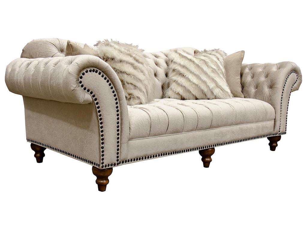 Aria Designs LorraineSand Paisley Tufted Sofa