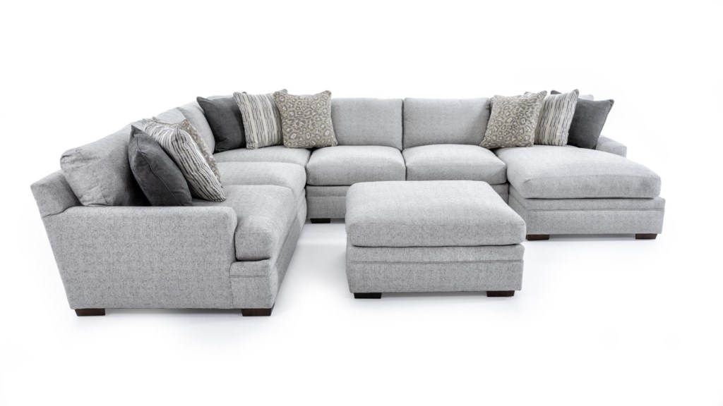 Aria Designs Vance 6033 Sect Ott Casual Five Piece Sectional Sofa  ~ Five Piece Sectional Sofa