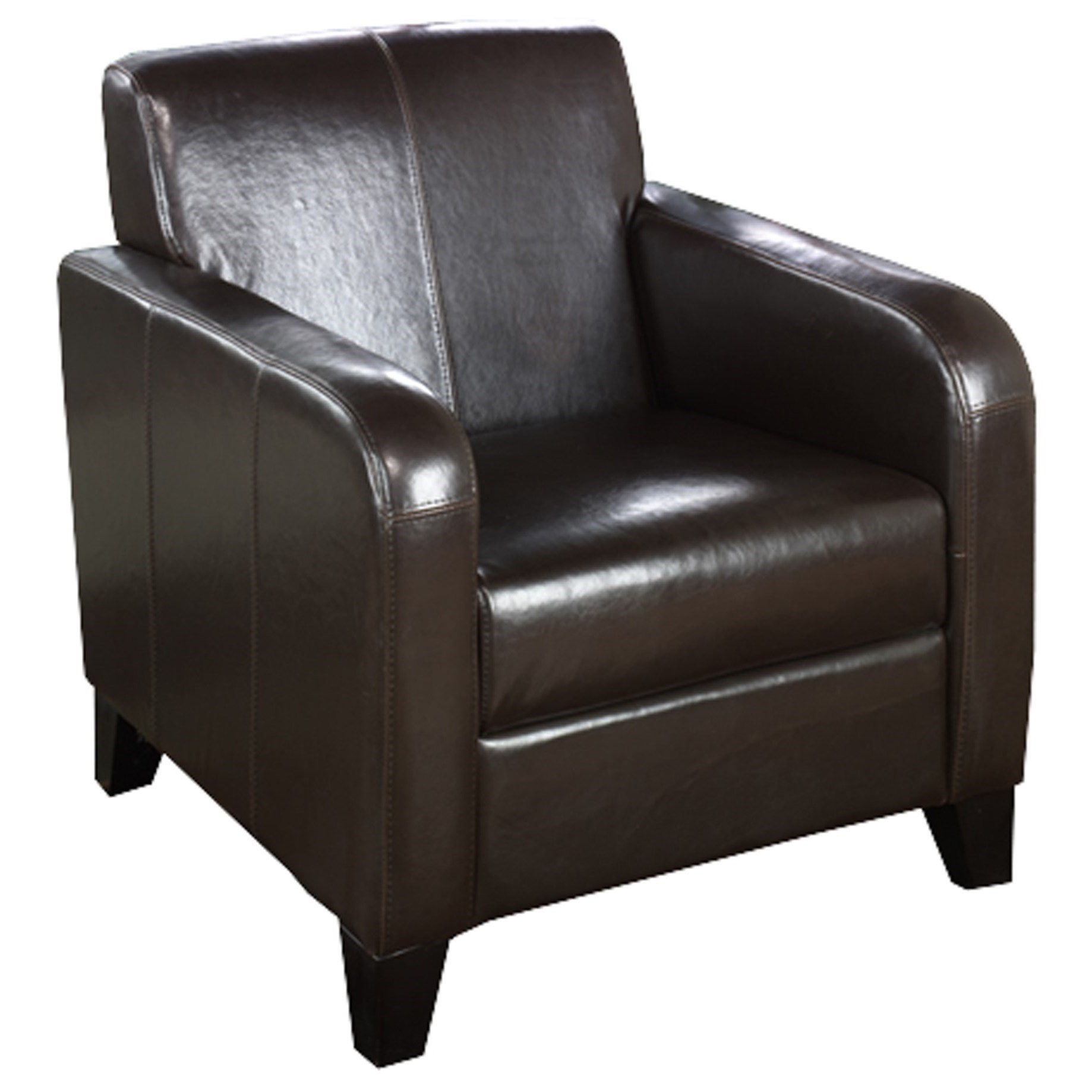 Contemporary Brown Faux Leather Club Chair