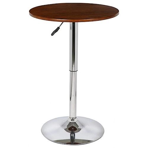 Armen Living Bentley Adjustable Pub Table With Chrome Base