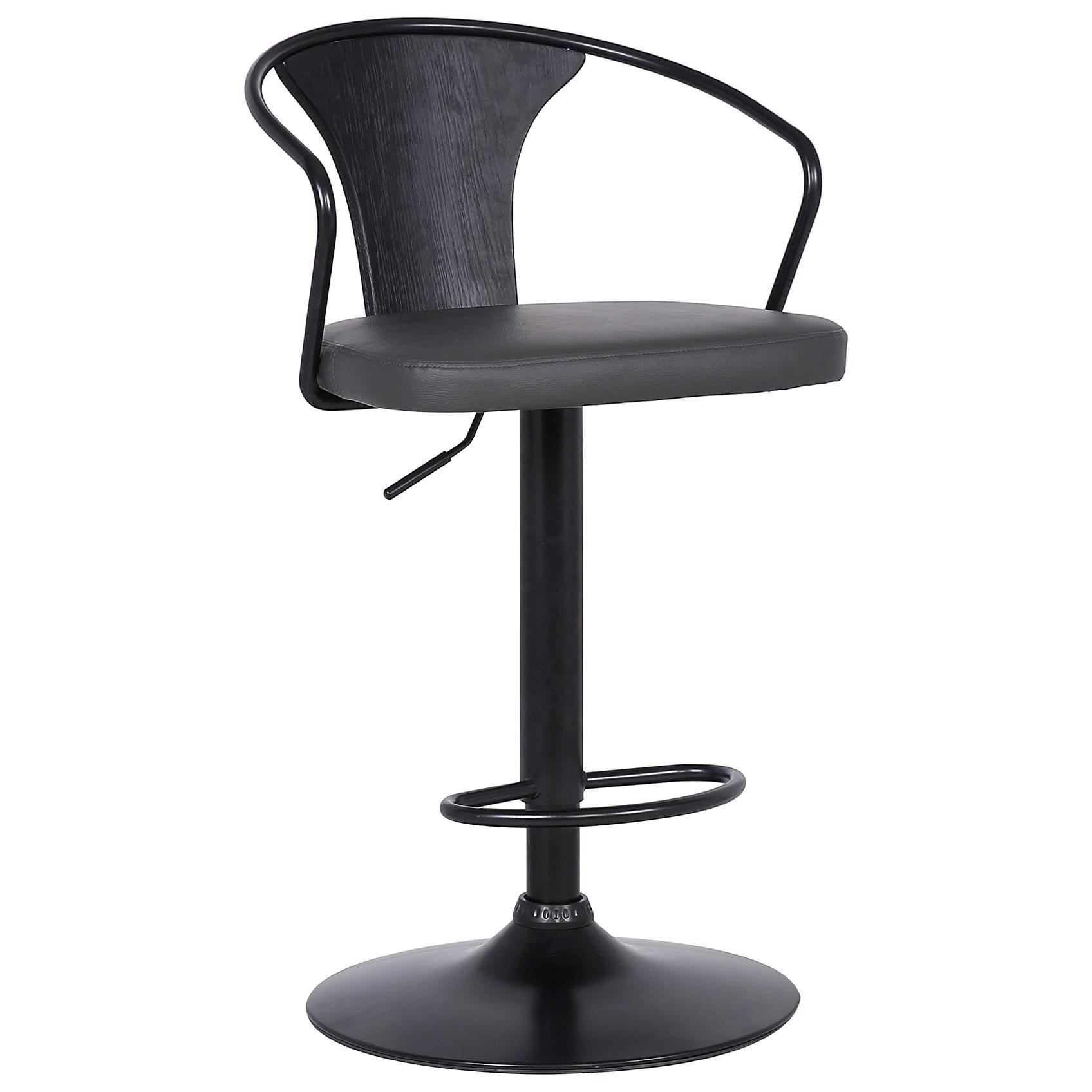 Contemporary Adjustable Barstool in Black Powder Coated Finish and Black Brushed Wood Finish Back