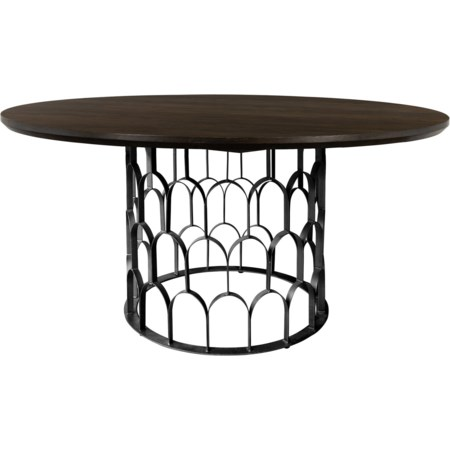 Oak and Metal Round Dining Table