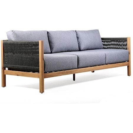 Outdoor Patio Sofa in Acacia Wood wit