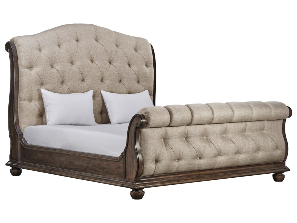 A.R.T. Furniture Inc Vintage Salvage King Lanza Upholstered Tufted Bed