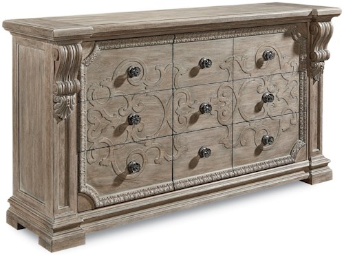 A.R.T. Furniture Inc Arch Salvage Traditional Wren Dresser with Scrolled Wood Carvings