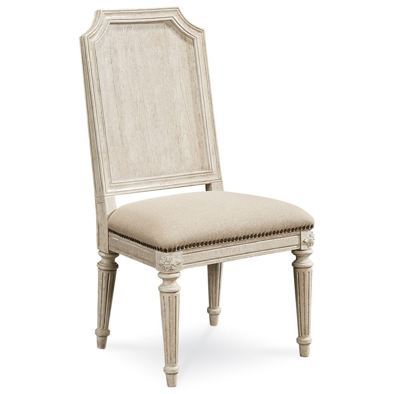 Mills Side Chair with Carved Wood Backrest