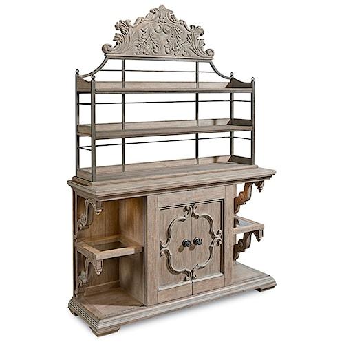 A.R.T. Furniture Inc Arch Salvage Carr Sliding Door Buffet w/ Baker's Rack