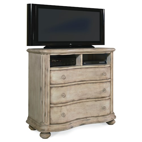 Markor Furniture Belmar II 3 Drawer Media Chest with Divided Opening