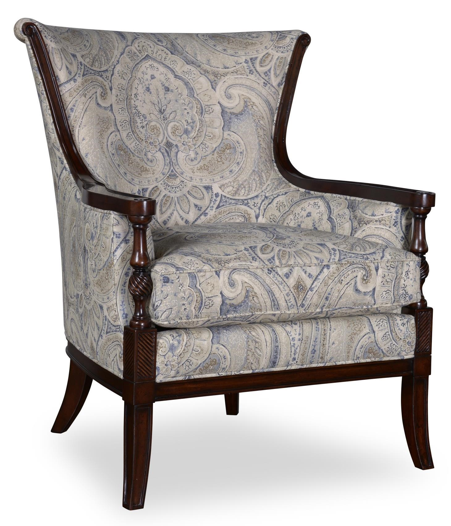 Markor Furniture Bristol Traditional Carved Wood Accent Chair In Tapestry  Fabric