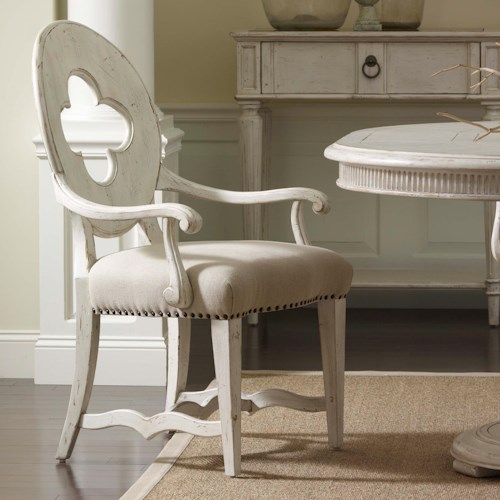 Belfort Signature Belle Haven Traditional Drake Arm Chair with Cut Out Back Detail