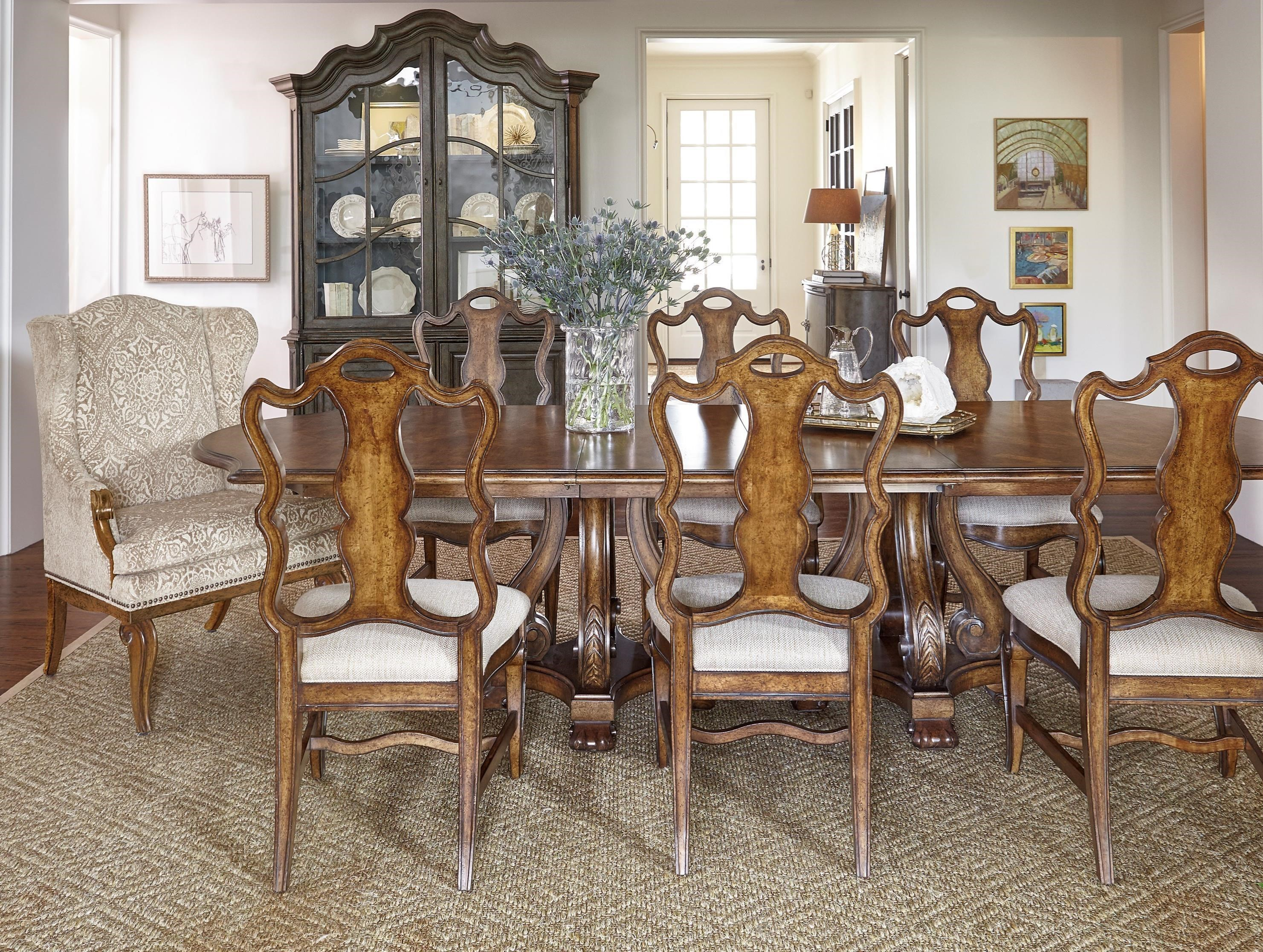 Markor Furniture Continental 9 Piece Double Pedestal Dining Table Set With  Wing Back Arm Chairs