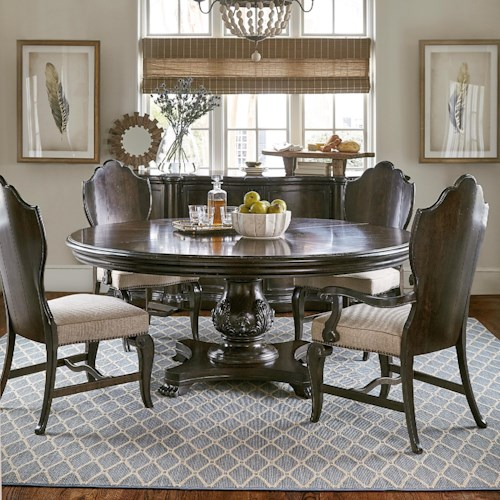 A r t furniture inc continental 5 piece 72 round dining for A r t dining room furniture