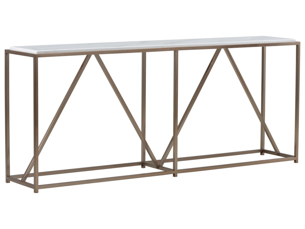 A r t furniture inc epicenters 33127 goldman console table with gold finish metal base