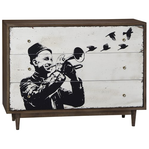 Belfort Signature Urban Treasures Shaw Single Dresser with Street Art Style Screeprint