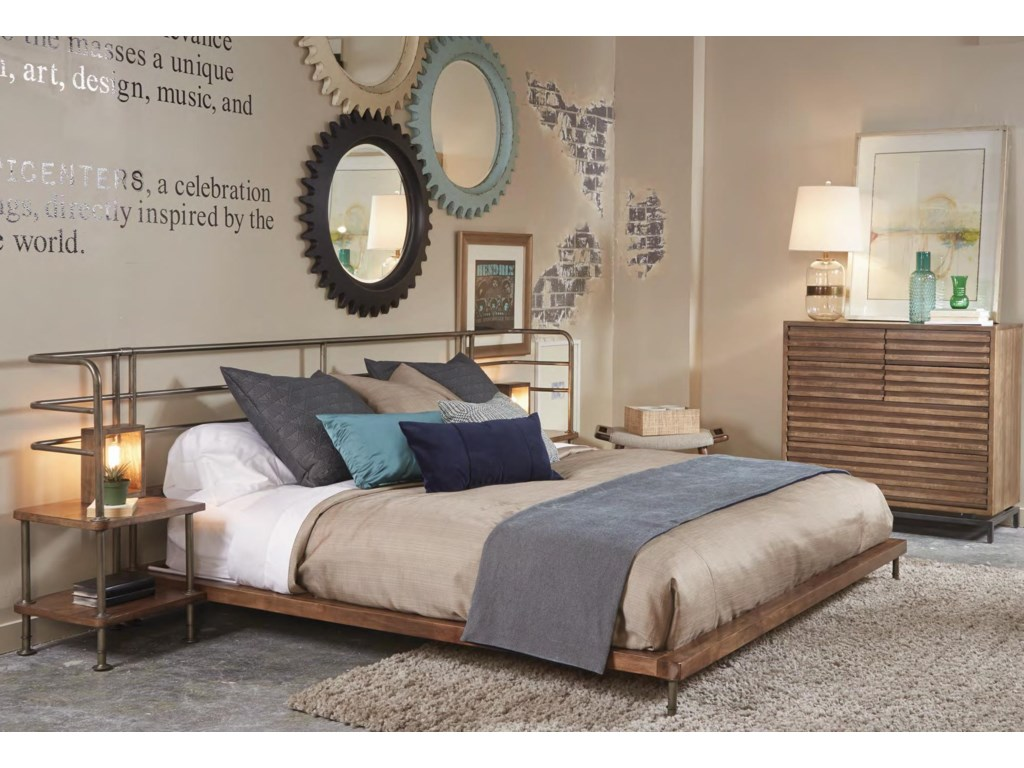 Belfort Signature Urban TreasuresQueen Factory Platform Bed w/ 2 Nightstands