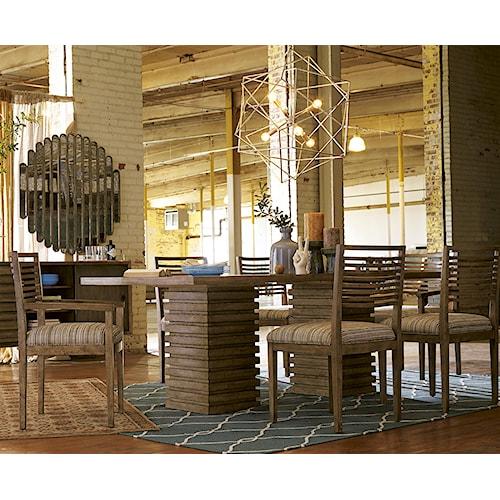 Belfort Signature Urban Treasures 7-Piece Shaw Double Pedestal Dining Table Set