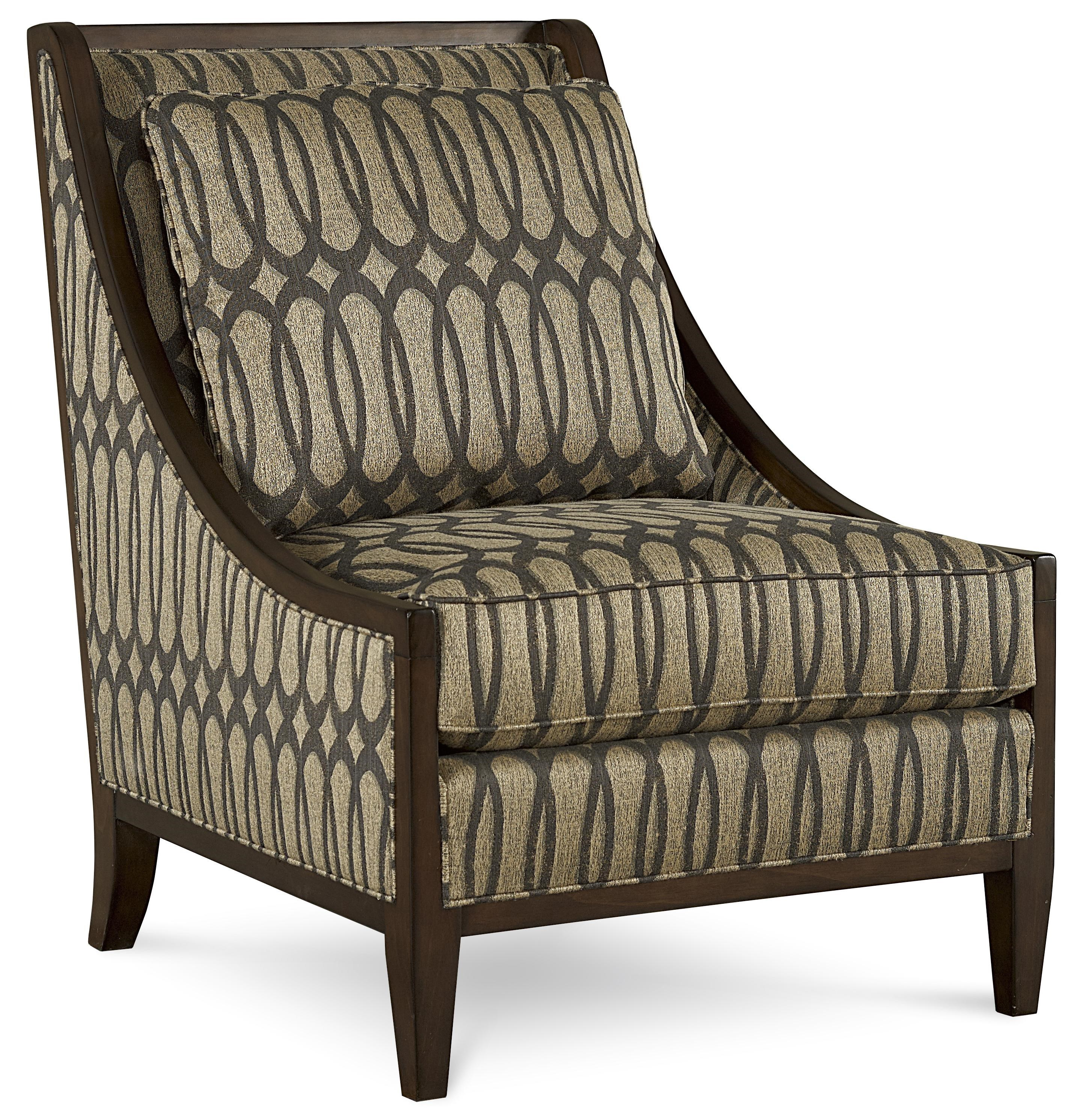 Markor Furniture Harper   Mineral Transitional Exposed Wood Frame Accent  Chair In Ogee Fabric