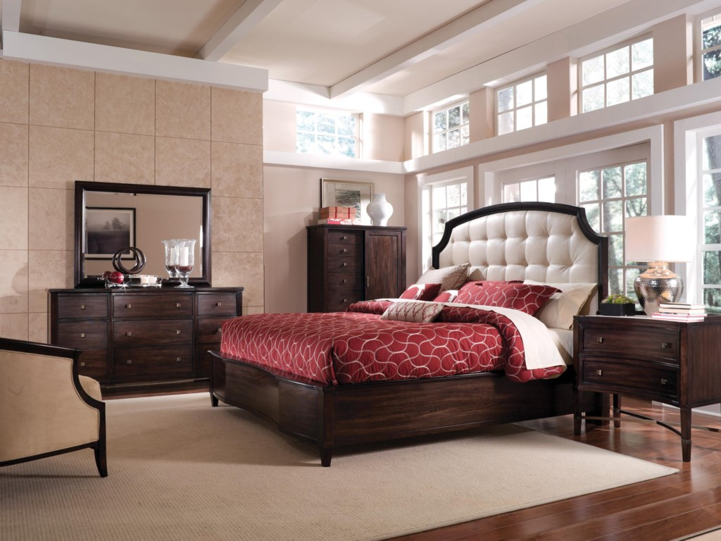 Shown with Leather Panel Bed, Drawer Dresser, landscape Mirror & Sliding Door Chiffarobe