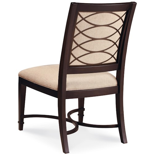 Belfort Signature Bolbrook Upholstered Dining Side Chair with Metal Fretwork
