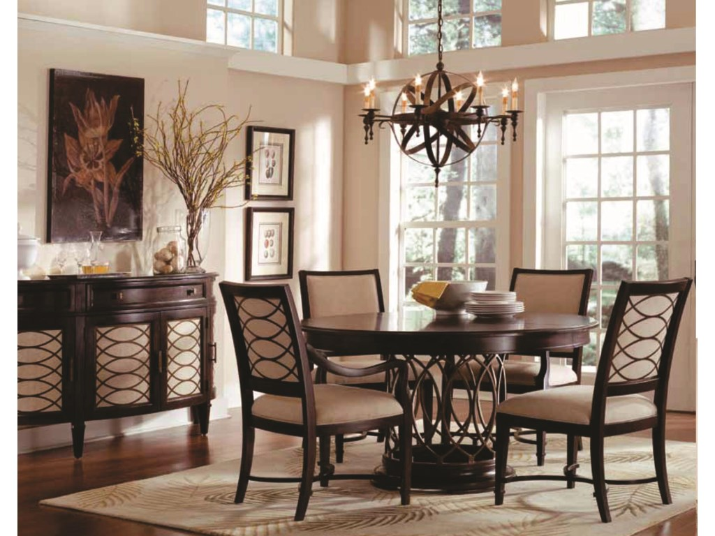 Shown with Upholstered Side Chairs, Round Wood Top Dining Table & Sideboard