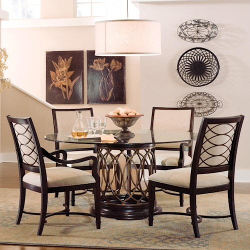 Belfort Signature Bolbrook Round Glass Top Dining Table with Upholstered Arm & Side Chairs