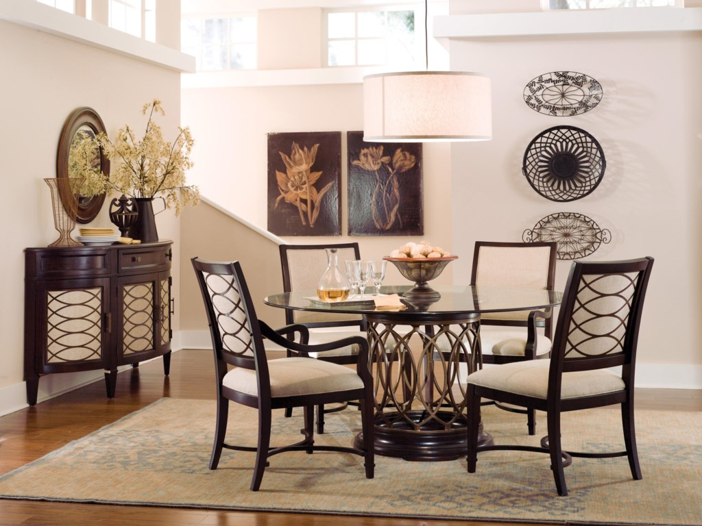 Shown with Round Glass Top Dining Table, Upholstered Arm Chairs & Upholstered Side Chairs