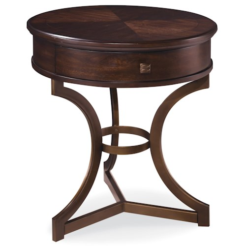 Belfort Signature Bolbrook Round End Table with Curved Metal Legs
