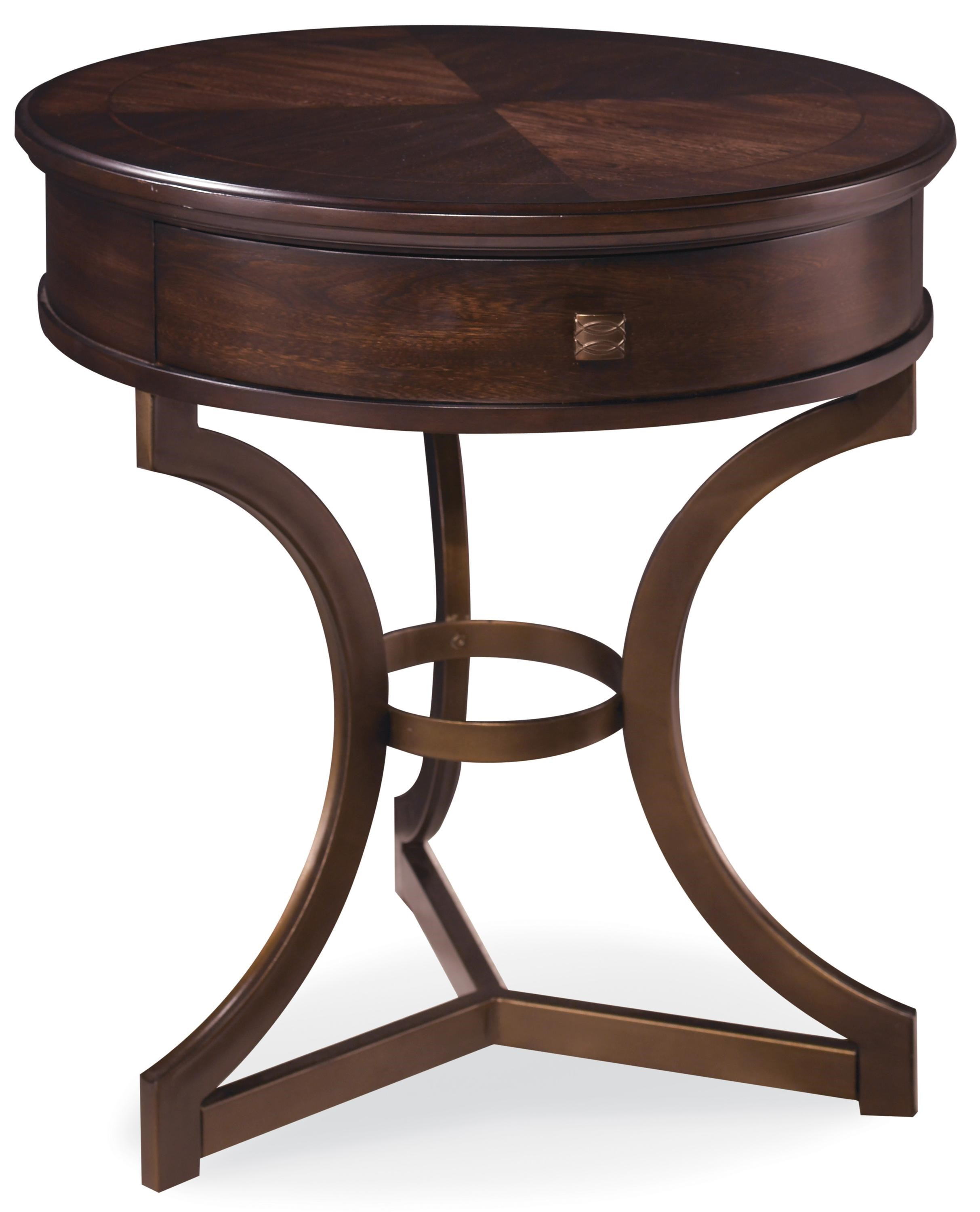 Markor Furniture Intrigue Round End Table With Curved Metal Legs