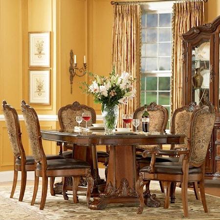 7 Piece Double Pedestal Dining Table Set